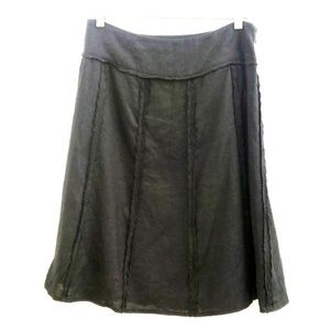 INC Black Linen Scallop Detail A-line Skirt Q7